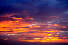 Light and Colours of Twilight Sky. Beautify light and colours of twilight sky with great cloudscape royalty free stock image