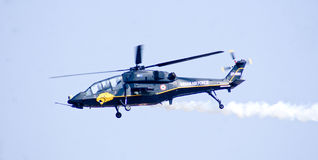 The Light Combat Helicopter on maiden flight during Aero India Show 2013 Stock Images