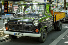 Light commercial vehicle Ford Transit 150, 1976. BERLIN - JUNE 17, 2017: Light commercial vehicle Ford Transit 150, 1976. Classic Days Berlin 2017 royalty free stock photos
