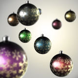 Light composition of Christmas balls. With the snowflake ornament stock illustration