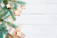 Light composition with gift boxes and cookies royalty free stock images