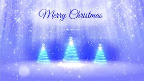 Light composition for merry Christmas background with three 3d Christmas tree from glitter particles, sparkles stars. Light composition for merry Christmas stock video footage