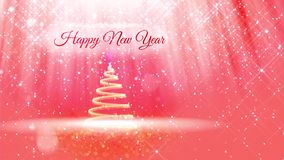 Light composition for New Year background with 3d Christmas tree from glitter particles and sparkles. With rays such as. Aurora borealis and snowfall on pink stock video footage