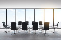 Light concrete meeting room. Interior with panoramic city view, furniture and daylight. 3D Rendering vector illustration