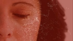 Light connections moving on a red background with a women eye. Digital animation of light connections moving on a red background showing a women opening her eye stock illustration