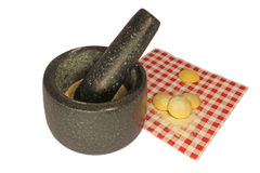 Light cookie, mortar and small crumbs Stock Images