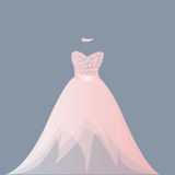 Light pink ballgown dress. Light coral pink ballgown in organza, tulle, satin finish. Fabric flowers applique on bodice, bust. Fashionable strapless dress. EPS vector illustration