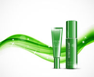 Light cosmetic ads design template. With body cream and skin moisturizer green realistic bottles on wavy soft dynamic starry lines background. Vector stock illustration