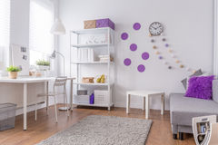 Light and cozy purple interior Stock Photos