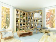 Light cozy room with bookshelves and armchairs. Rendering of interior of bright cozy room with light white walls, bookshelves, coffee table, two comfortable gray Royalty Free Stock Image