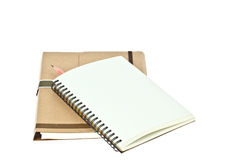 Light cream color paper note book and pencil Royalty Free Stock Photo