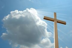 Light and Cross. Light from a cloud shining on cross stock illustration