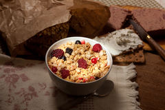 Light on crunchy cereals breakfast Royalty Free Stock Photography