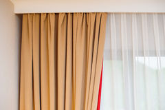 Light curtains in the bedroom Royalty Free Stock Photography