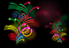 Light curves. Abstract background with color curves and spirals Stock Image