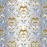 Light 3d damask seamless pattern. Vector floral silk background. Wallpaper. Hand drawn vintage luxury gold silver damask ornaments. Vintage flowers, leaves Vector Illustration