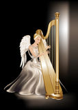 Angel playing harp. Illustration of a girly looking angel in a silver satin dress playing harp over a dark background Stock Photography