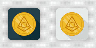 Light and dark Augur crypto currency icon. Light and dark crypto currency icon Augur on a transparent background Royalty Free Stock Image