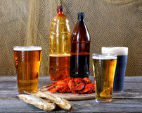 Light and dark beer with crayfish and dried fish Royalty Free Stock Image