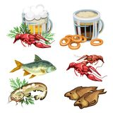 Light and dark beer in mug with various snacks, crabs, fish, bagels. Alcohol drinks and food - six appetizing icons in cartoon style. Vector set isolated on Royalty Free Stock Image