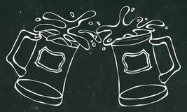 Light and Dark Beer Mugs or Glasses. Black Board Background and Chalk. Hand Drawn Vector Illustration. Doodle Style. vector illustration