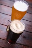 Light and dark beer Royalty Free Stock Images