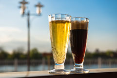 Light and dark beer Royalty Free Stock Image