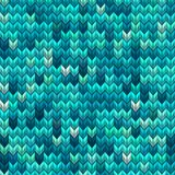 Light and dark blue green knit seamless pattern. EPS 10 vector Stock Image