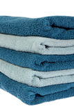 Light and Dark Blue towels folded Stock Photo