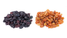 Light and dark raisins Royalty Free Stock Photography