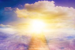 Religion for the person . Way to heaven . Religious background . Way to success. Light in dark sky . Stairs in sky . Religion for the person . Way to heaven stock illustration