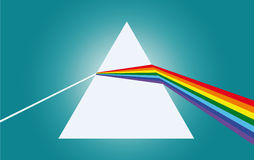 Light decomposition. The ray of light falls on a prism then refracts two times Stock Images