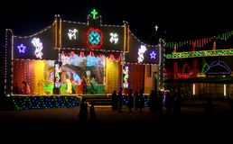 Light decoration of church stage in india. Light decoration of church stage to festival in tamilnadu, india Stock Image