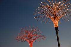Light decoration for festival. Beautiful sky in twilight time royalty free stock image