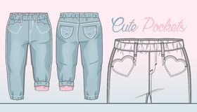 Light denim pants with front pockets in a shape of heart. Pink lining inside royalty free illustration