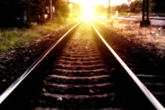 Light at the destination. Light at the destination with Railroad. Travel concept Stock Image