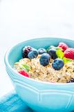 Light diet cereal breakfast with sumer fruits, wellbeing concept Stock Photo