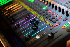Light of digital Audio mixer fader. The light of Fader of audio mixer console desk Stock Images