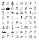 Light Doodle icon collection, vector illustration. Stock Photos