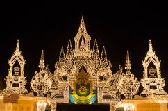 Light on the door at palace when King of thailand birthday Royalty Free Stock Photos