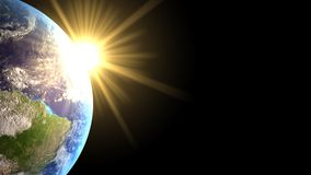 Light on the earth. The sun back the earth with his yellow ray Stock Photography