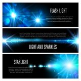 Blue light effect banner set with star shine. Light effect banner set with blue shine of light flash, glare of sun and star, glow of bright ray with glitter Royalty Free Stock Photography