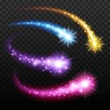 Light effect comets set vector illustration. Light effect colorful falling comets meteors set vector illustration on transparent background. Burst sparks glow Stock Photo