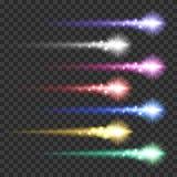 Light effect comets set vector illustration. Light effect colorful comets meteors set vector illustration on transparent background. Burst sparks glow Stock Photos