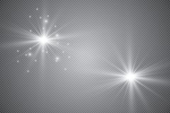 Glowing lights effect, flare, explosion and stars. Special effect isolated on transparent background. Light effect glow. Star flashed sequins. Abstract space vector illustration