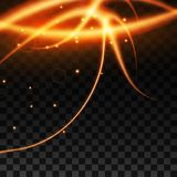 Light effect with glowing gold wavy lines and sparkles isolated on transparent special effec. Vector illustration. Light effect with glowing gold wavy lines and Stock Image