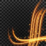 Light effect with glowing gold wavy lines and sparkles isolated on transparent special effect. Vector illustration. Light effect with glowing gold wavy lines and Royalty Free Stock Photography