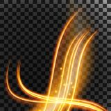 Light effect with glowing gold wavy lines and sparkles  on transparent special effect. Vector illustration. Light effect with glowing gold wavy lines and Royalty Free Stock Images