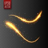 Light effect with glowing wavy lines and sparkles. Vector. Illustration Royalty Free Stock Photography