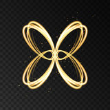Light effect with golden neon abstract butterfly silhouette. Golden neon abstract butterfly silhouette isolated on transparent background. Light effect with stock illustration